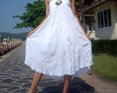 Lovely White Cotton Coconut Shell Beach Sexy Party Wedding Dress (Long Skirt or Dress) A