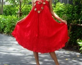 Red  Long Skirt Cotton Mix to Coconut Shell with 3 Styles in 1 Piece A