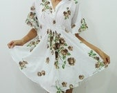Butterfly Brown Roses Top/Blouse Free Size S M L XL