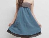 Lovely Ribbon Dress Steel Blue