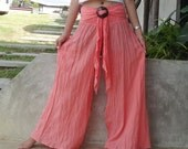 Peach/salmon Pink Pants Casual Cotton Mix to Coconut Shell