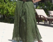 Green Soldier Long Skirt Sexy Party Beach Cotton Mix to Coconut Shell with 3 Styles in 1 Piece