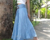 Light Blue Sky Comfy Party Long Skirt/Dress Cotton Mix to Coconut Shell A