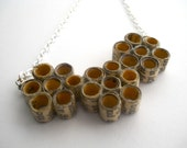 Honeycomb book page necklace, paper bead jewelry made from recycled Books