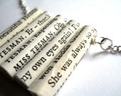 Large Bookworm Necklace, Ibsen, paper bead jewelry