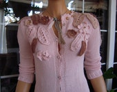 Handmade knitted longsleeved cardigan,sweater in powder pink ready to ship for her size S/M by Golden Yarn
