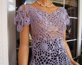 top romantic handmade crochet peplum  lace lilac top gift idea for her women clothing last one in this shade size M by goldenyarn