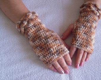 gloves handmade crochet sparkle gloves/fingerless gloves in shades of beige ready to ship for her by golden yarn