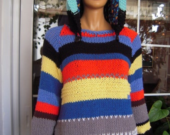 sweater handmade color block, oversized  knitted hoodie multicolor sweater with pockets ready to ship size L+ for her by goldenyarn