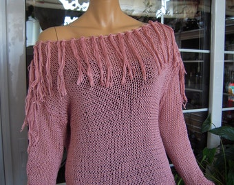 pink sweater handmade knitted in cotton romantic tassels gift idea for her women clothing by goldenyarn