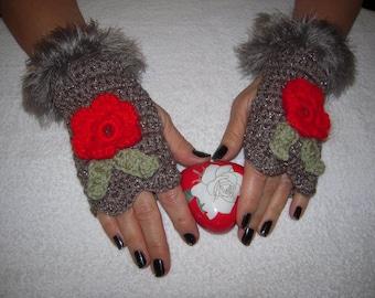 gloves handmade crochet romantic,girly gloves/fingerless in sparkle brown with roses/gift idea for her by golden yarn