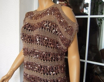 sweater handmade knit oversized cold shoulders top with stripes in brown size M/L ready to ship gift idea for her by golden yarn