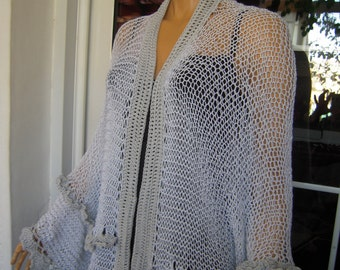 OFFER LAST ONE jacket handmade knitted oversized cardigan/shrug in sparkle grey gift idea for her by golden yarn
