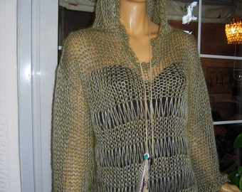 SALE sweater handmade knitted oversize,longsleeve  hoodie  sparkle  in khaki ready to ship for her all size by golden yarn