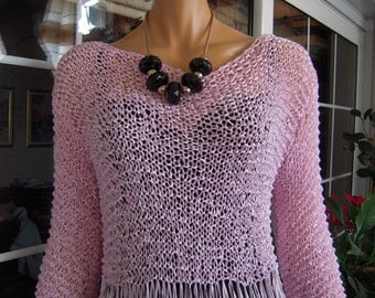 sweater handmade knitted awesome pink all season lightweight jumper size M ready to ship women clothing  by golden yarn
