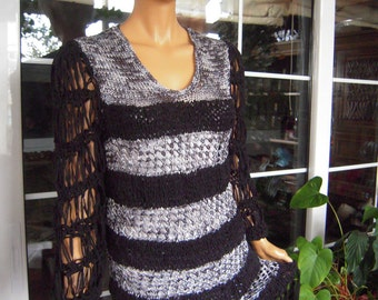 OFFER dress handmade knitted longsleeved fringe  dress/sweater in silver and black ready to ship ,for her,size M/L by goden yarn