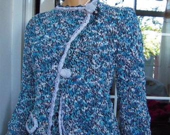 jacket handmade double breasted knitted from a velvet yarn in bright blue gift idea for her by golden yarn