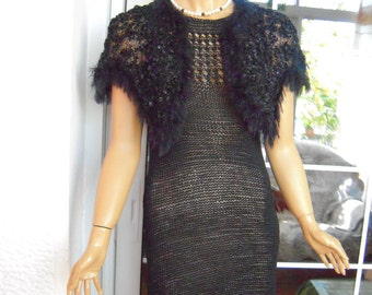 dress black dress handmade knitted crochet dress/sweater in black silk with cape ready to ship for her size M/L'OOAK by golden yarn