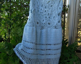 Handmade crochet dress with double lace skirt in sky blue/gift for her ready to ship size L OOAK by golden yarn
