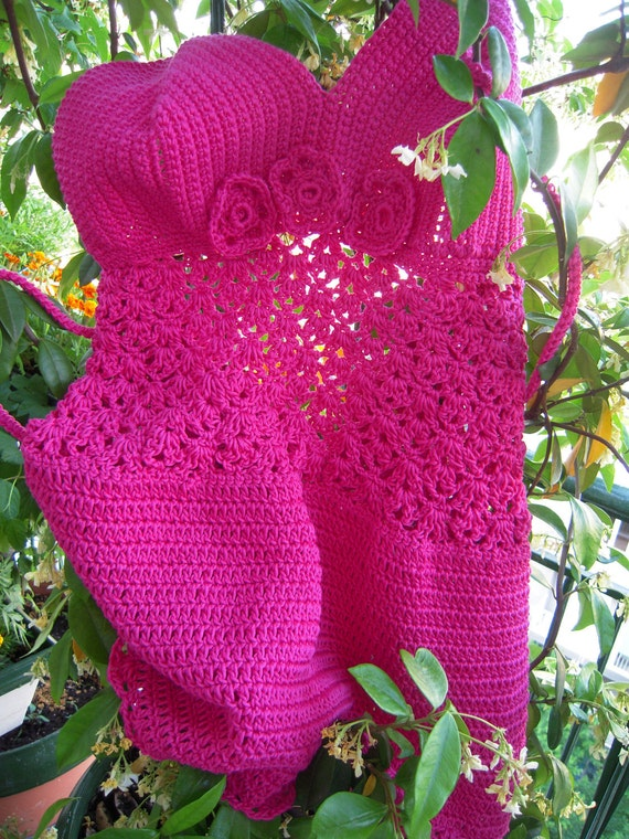 top bra fuchsia handmade summer top/corsage/mini dress in cotton size M,L ready to ship gift idea for her OOAK by golden yarn