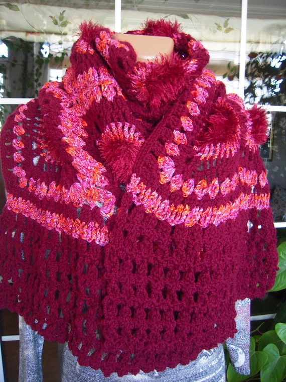 wrap handmade crochet granny square large shawl/wrap/scarf in burgundy and dark pink OOAK ready to ship for her  by Golden Yarn