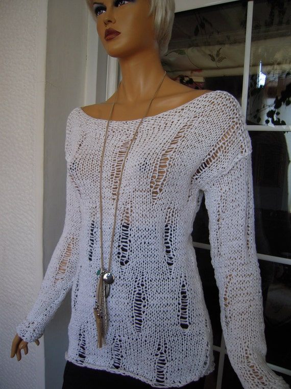 Handmade knitted longsleeved ladder eco friendly sweater in white cotton ribbon ''Patra''by Golden Yarn