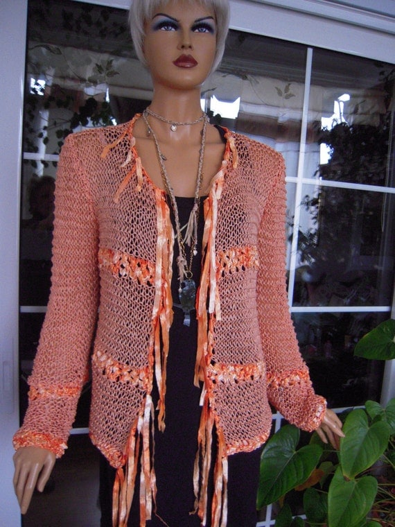 """RESERVED for Margery. Handmade knitted longsleeved cardigan/sweater in bright orange ''HELIOS"""""""