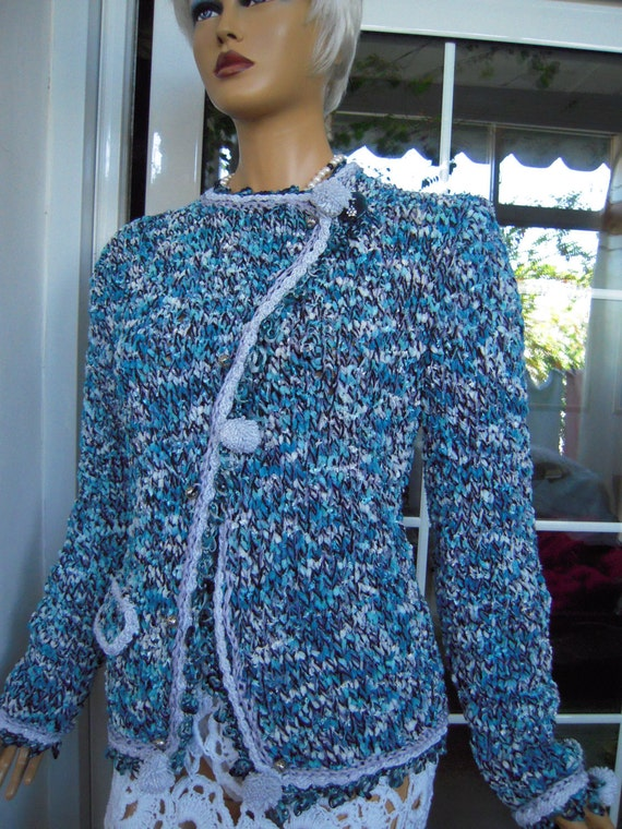 OFFER LAST ONE jacket handmade double breasted knitted from a velvet yarn in bright blue gift idea for her by golden yarn