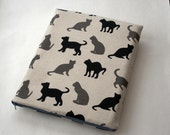 MacBook 13 Air case sleeve cover linen fabric black cats