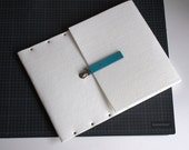 MacBook Pro 15 and MacBook Retina sleeve case white felt briefcase cover with blue leather strap handmade by SleeWay