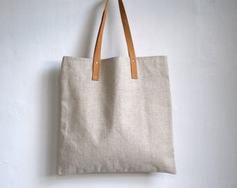 "Tote bag,book bag, shopping bag, fabric bag, market bag with leather handles 15""x15"""