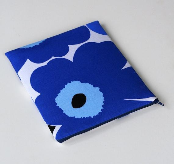 iPad case sleeve blue flowers Marimekko fabric