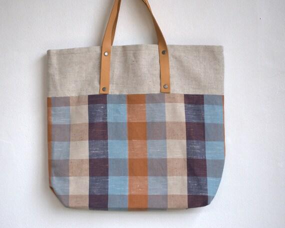 "Tote bag, linen bag, bag fabric,canvas bag  with leather handles  15""x15"""