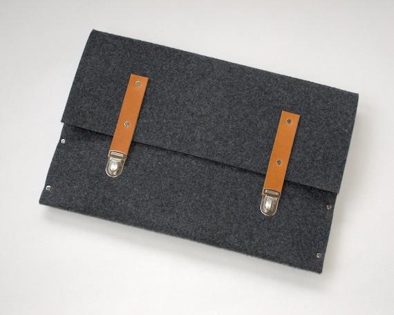13 MacBook sleeve dark grey case felt briefcase cover