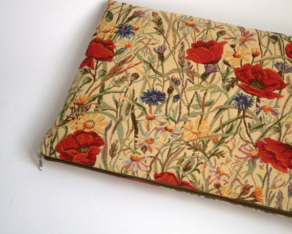 15 MacBook PRO sleeve case red poppies flowers tapestry