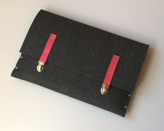 15 MacBook Pro sleeve dark grey case felt briefcase with pink leather straps cover handmade by SleeWay Studio