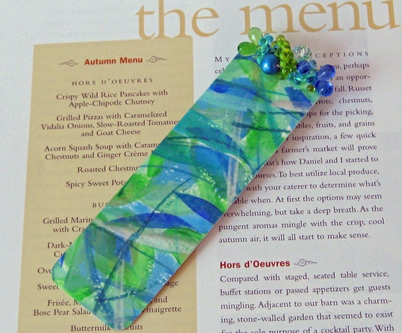 Beaded Watercolor Bookmark / Abstract Art Book Mark / Blue Sea / Actual Artwork / Not  a Print