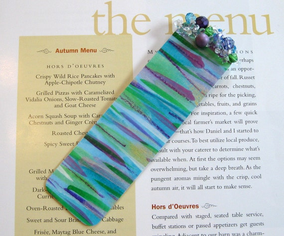 Beaded Bookmark / Abstract Art Book Mark / Horizontal Lines / Linear Bookmark / Not a Print