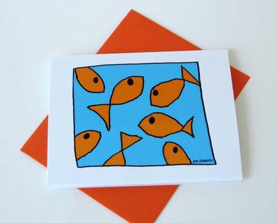 Goldfish Card / Handmade Fish Note Card / Blank / No.1
