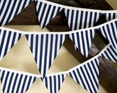 SALE Nautical Bunting in Navy and White Stripe Fabric. Boys Bunting, BBQ, Nursery Decor, Wall Decor, Wedding Decor