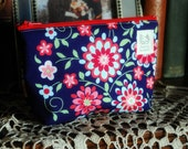 small cotton pouch with waterproof lining - great for makeup or coins