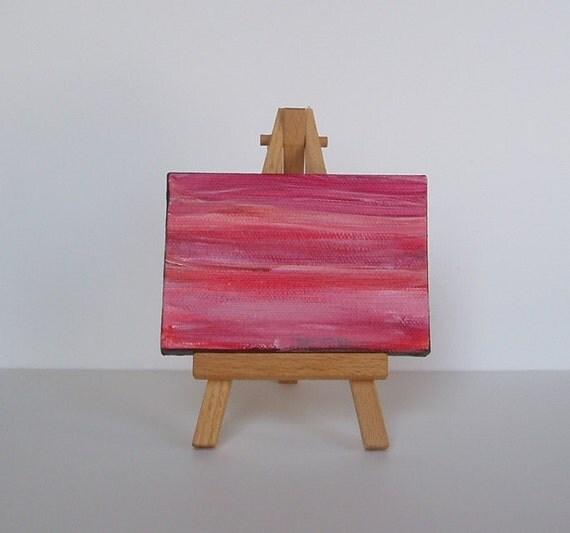 "Miniature Original Painting with Easel - Child with Multiple Disabilities - 2.5"" x 3"""