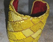 Tiger Prints Under the Yellow Brick Road - Bead Embroidered Cuff