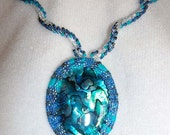 Blue Pua Shell Bead Embroidered Necklace
