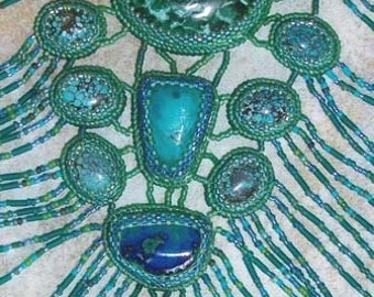 Azurite and malachite  bead embroidered fringed necklace