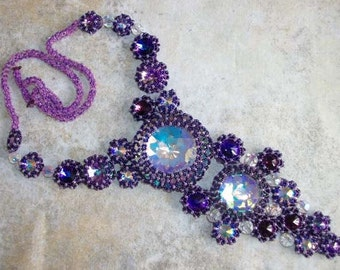 Purple Crystal Statement Necklace - Purple Fire, dramatic one of a kind necklace