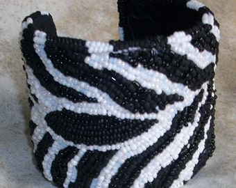 African series zebra patterned bead embroidered black and white cuff bracelet