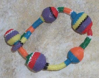 Rainbow beaded beach bracelet metal free