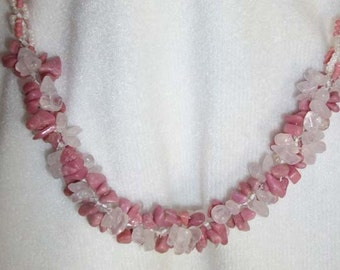 pink quartz rhodonite stone chips and glass bead necklace