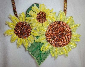 Sunflower statement necklace, bead embroidered